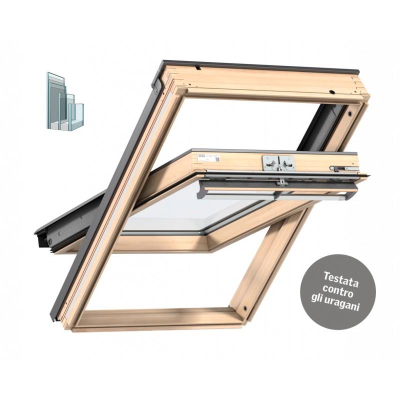 Velux Finestra per tetti a falda in legno naturale con apertura a bilico manuale TRIPLA PROTEZIONE