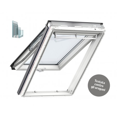 Velux Finestra per tetti a falda in legno e poliuretano bianca con doppia apertura vasistas/bilico manuale