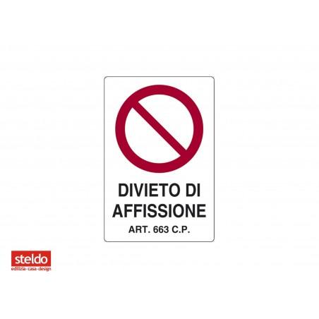 Cartello DIVIETO DI AFFISSIONE - dimensioni 20 x 30 cm