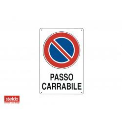 Cartello PASSO CARRABILE - dimensioni 20 x 30 cm