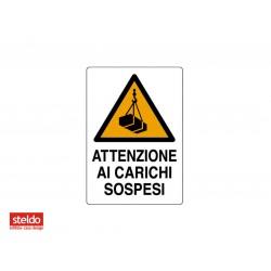 Cartello ATTENZIONE CARICHI SOSPESI - dimensioni 50 x 70 cm